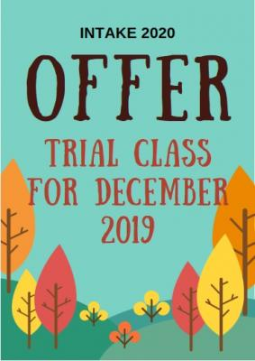 DISCOUNT AND FREE TRIAL CLASS FOR EARLY BIRD, INTAKE 2020